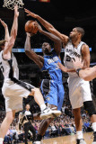 Orlando Magic v San Antonio Spurs: Brandon Bass, Matt Bonner and Tim Duncan Photographic Print by D. Clarke Evans