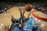 Golden State Warriors v Dallas Mavericks: Alexis Ajinca, Dorrell Wright and Andris Biedrins Photographic Print by Glenn James