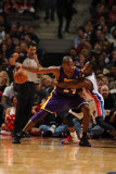 Los Angeles Lakers v Detroit Pistons: Kobe Bryant and Rodney Stuckey Photographic Print by D. Lippitt Einstein