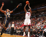 Indiana Pacers v Miami Heat: LeBron James and Danny Granger Photographic Print by Victor Baldizon