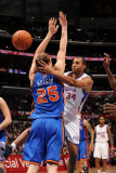 New York Knicks v Los Angeles Clippers: Brian Cook and Timofey Mozgov Photographic Print by Noah Graham