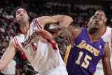 Los Angeles Lakers v Houston Rockets: Ron Artest and Luis Scola Photographic Print by Bill Baptist