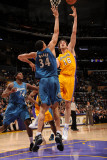 Washington Wizards v Los Angeles Lakers: Pau Gasol and JaVale McGee Photographic Print by Andrew Bernstein