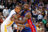 Detroit Pistons v Golden State Warriors: Monta Ellis and  Ben Gordon Photographic Print by Rocky Widner