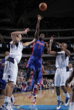 Detroit Pistons v Dallas Mavericks: Rodney Stuckey, Dirk Nowitzki and Caron Butler Photographic Print by Glenn James