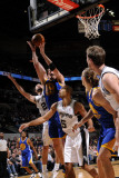Golden State Warriors v San Antonio Spurs: David Lee, Tim Duncan and Ime Udoka Photographic Print by D. Clarke Evans