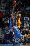 Oklahoma City Thunder v New Orleans Hornets: David West and Kevin Durant Fotografie-Druck von Layne Murdoch