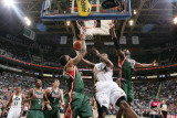 Milwaukee Bucks v Utah Jazz: C.J. Miles, Chris Douglas-Matthews and Luc Mbah a Moute Photographic Print by Melissa Majchrzak