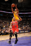 Chicago Bulls v Los Angeles Lakers: Shannon Brown and Derrick Rose Photographic Print by Andrew Bernstein