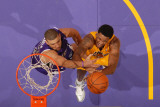 Sacramento Kings v Los Angeles Lakers: Devin Ebanks and Francisco Garcia Photographic Print by Andrew Bernstein
