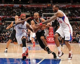 San Antonio Spurs v Los Angeles Clippers: Tony Parker, Baron Davis and Rasual Butler Fotografisk tryk af Noah Graham
