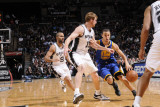 Golden State Warriors v San Antonio Spurs: Stephen Curry and Matt Bonner Photographic Print by D. Clarke Evans