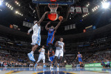 New York Knicks v Denver Nuggets: Raymond Felton and Al Harrington Photographic Print by Garrett Ellwood