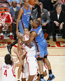 Oklahoma City Thunder v Houston Rockets: Russell Westbrook and Shane Battier Photographic Print by Bill Baptist