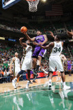 Sacramento Kings v Utah Jazz: DeMarcus Cousins, C.J. Miles and Paul Millsap Photographic Print by Melissa Majchrzak