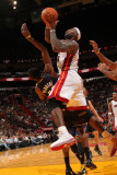 Indiana Pacers v Miami Heat: LeBron James and Roy Hibbert Photographic Print by Victor Baldizon