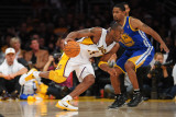 Golden State Warriors v Los Angeles Lakers: Kobe Bryant and Charlie Bell Photographic Print by Noah Graham