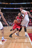 New Jersey Nets v Philadelphia 76ers: Devin Harris and Spencer Hawes Photographic Print by David Dow