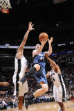 Minnesota Timberwolves v San Antonio Spurs: Kevin Love, Tim Duncan and Gary Neal Photographic Print by D. Clarke Evans