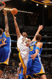 Golden State Warriors v Los Angeles Lakers: Kobe Bryant, Dorell Wright and Andris Biedrins Photographic Print by Noah Graham