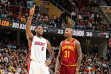 Miami Heat v Cleveland Cavaliers: LeBron James and Jawad Williams Photographic Print by Nathaniel S. Butler
