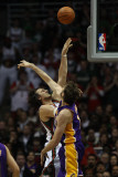 Los Angeles Lakers v Milwaukee Bucks: Andrew Bogut and Pau Gasol Photographic Print by Jonathan Daniel