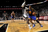 Golden State Warriors v San Antonio Spurs: Monta Ellis and DeJuan Blair Photographic Print by D. Clarke Evans