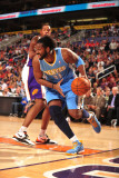 Denver Nuggets v Phoenix Suns: Nene Hilário and Channing Frye Photographic Print by Barry Gossage
