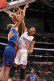 New York Knicks v Los Angeles Clippers: Eric Gordon and Timofey Mozgov Photographic Print by Noah Graham