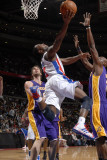 Los Angeles Lakers v Detroit Pistons: Rodney Stuckey, Pau Gasol and Lamar Odom Photographic Print by Allen Einstein