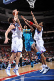 New Orleans Hornets v Philadelphia 76ers: Spencer Hawes, Trevor Ariza and Andre Iguodala Photographic Print by David Dow