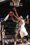 Milwaukee Bucks v San Antonio Spurs: Brandon Jennings, DeJuan Blair and Tim Duncan Photographic Print by D. Clarke Evans