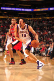 Portland Trail Blazers v Phoenix Suns: Hedo Turkoglu and Nicolas Batum Photographic Print by Barry Gossage