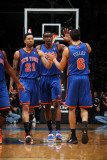 New York Knicks v Washington Wizards: Wilson Chandler, Amar'e Stoudemire and Landry Fields Photographic Print by Ned Dishman
