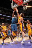 Washington Wizards v Los Angeles Lakers: Pau Gasol and Kevin Seraphin Photographic Print by Andrew Bernstein