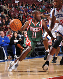 Milwaukee Bucks v Philadelphia 76ers: Earl Boykins and Marreese Speights Photographic Print by Jesse D. Garrabrant