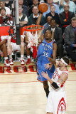 Oklahoma City Thunder v Houston Rockets: Kevin Durant and Brad Miller Photographic Print by Bill Baptist