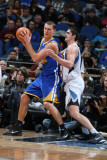 Golden State Warriors v Minnesota Timberwolves: Andris Biedrins and Darko Milicic Photographic Print by David Sherman