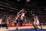 Los Angeles Lakers v Los Angeles Clippers: Baron Davis, Steve Blake and Lamar Odom Photographic Print by Noah Graham