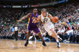 Los Angeles Lakers v Utah Jazz: Andrei Kirilenko and Ron Artest Photographic Print by Melissa Majchrzak