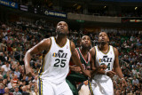 Milwaukee Bucks v Utah Jazz: Al Jefferson, C.J. Miles and Luc Mbah a Moute Photographic Print by Melissa Majchrzak