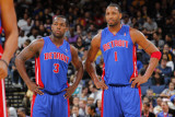 Detroit Pistons v Golden State Warriors: Rodney Stuckey and Tracy McGrady Photographic Print by Rocky Widner