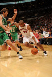 Boston Celtics v Toronto Raptors: Leandro Barbosa and Semih Erden Photographic Print by Ron Turenne
