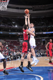 Toronto Raptors v Philadelphia 76ers: Spencer Hawes and Andrea Bargnani Photographic Print by David Dow