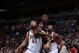 Indiana Pacers v Milwaukee Bucks: Roy Hibbert, Jon Brockman and Corey Maggette Photographic Print by Gary Dineen