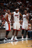 Phoenix Suns v Miami Heat: Dwyane Wade, LeBron James and Chris Bosh Photographic Print by Andrew Bernstein