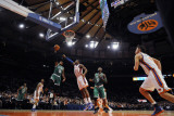 Boston Celtics v New York Knicks: Rajon Rondo and Amar'e Stoudemire Photographic Print by Lou Capozzola