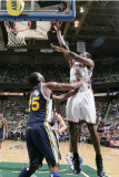 Oklahoma City Thunder v Utah Jazz: Serge Ibaka and Al Jefferson Photographic Print by Melissa Majchrzak