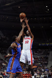 New York Knicks v Detroit Pistons: Richard Hamilton and Amar'e Stoudemire Photographic Print by Allen Einstein