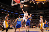 Golden State Warriors v Los Angeles Lakers: Pau Gasol, Stephen Curry and Andris Biedrins Photographic Print by Noah Graham